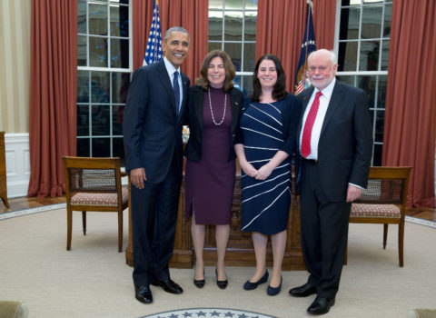 President Barack Obama greets 2016 Nobel Prize winner Fraser Stoddart and his daughters