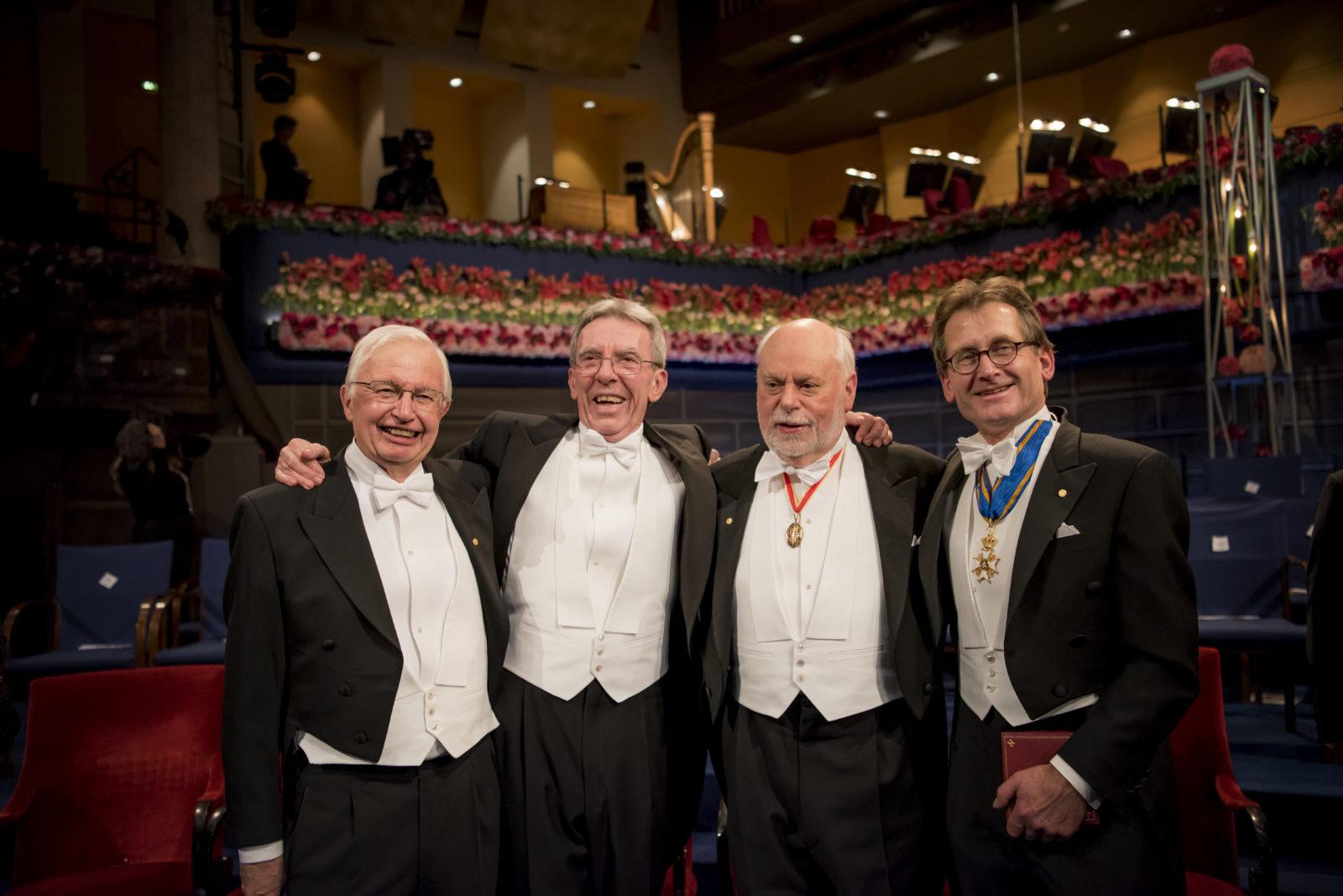 2016 Nobel Prize in Chemistry winners Fraser Stoddart, Jean-Pierre Sauvage, & Ben Feringa with Jean-Marie Lehn